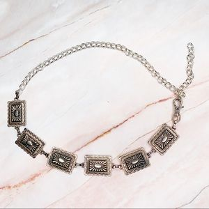 Vintage Silver Metal Plated Chain Link Belt